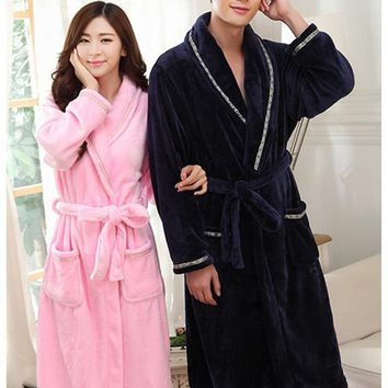 Pink/ Blue Man Women Autumn Winter Soft Warm Flannel Sweethearts Lover Pockets Robe Cotton Noble Robes Nice Anniversaries Gift