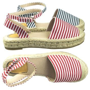 Kimber Comfortable Espadrille Flatform Rope Jute Wrap w Close Toe Ankle Strap