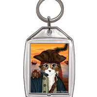 Pirate Cat Keychain Rat Captain Leo Pirate Ship Sunset Fantasy Cat Art Keychain Keyring Cat Lovers Gifts