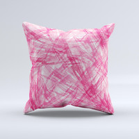 Subtle Pink Watercolor Strokes Ink-Fuzed Decorative Throw Pillow