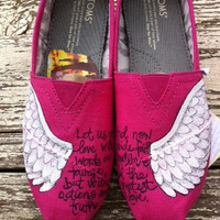 Custom hand painted TOMS, On the Wings of Love