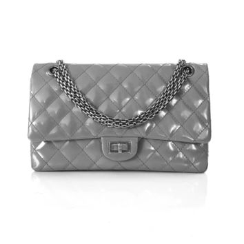 Chanel 2009 Grey Patent Leather Reissue 2.55 Medium Flap Bag Size 226 RRP $8,070