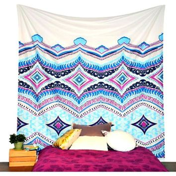 The Kalinda Blue Boho Pattern Cotton Wall Bed Tapestry