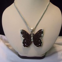 """Brighton Designer Signed Butterfly Pendant Necklace Silver Wood Rhinestone 19"""""""