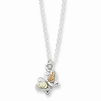 Sterling Silver & 12K Gold Butterfly Necklace