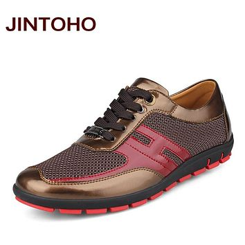 Casual men leather shoes breathable mesh male shoes luxury glitter men's flats