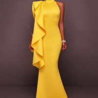 Yellow or White Backless Falbala Halter Maxi Dress