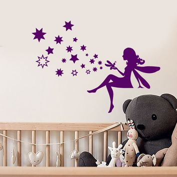 Vinyl Wall Decal Fairy Tale Stars Magic Grig Fantasy Children's Room Stickers (2665ig)