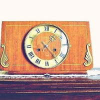 Selling on RETRuly - Antique USSR Wood Clock, Mid Century Mantle Gong Clock Mechanical - $190.00