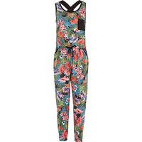 River Island Girls green tropical print jumpsuit