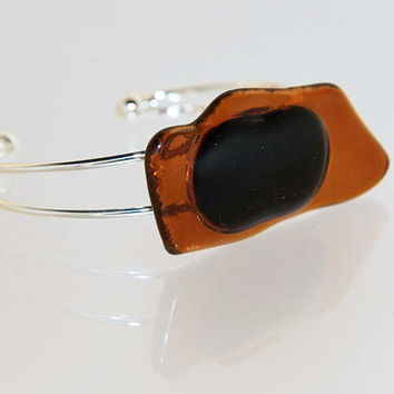Abstract Freeformed Brown and Black , Fused Glass Rectangle Bracelet Accessory  B2