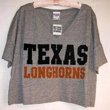 Victorias Secret PINK Gray Texas Longhorns Crop Boxy Jersey Shirt RARE L $55 New