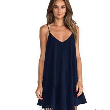 Women Plus Size Dress Summer Chiffon Spaghetti Strap Dresses V-neck 6XL Sexy Loose A-line Dresses