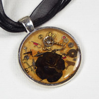 Dragonfly and Rose Resin Steampunk Pendant Necklace