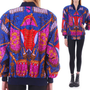 80s Vintage Silky Baroque Windbreaker Jacket Slouchy Batwing Colorful Abstract Versace-Style Bomber 90s Clothing Unisex Medium Large