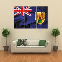 Waving Flag Of Turks And Caicos Islands Multi Panel Canvas Wall Art