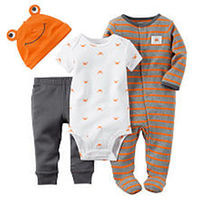 Carter's Boys 4 Piece Grey/Orange Striped Button Down Footie, White Allover Crab Print Bodysuit, Grey Pant and Hat Set