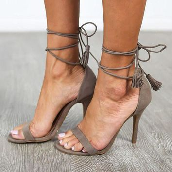 Faux Suede Tassel Open Toes Heels Lace Up Sandals