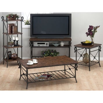 Jofran 772-1 Rutledge 4 Piece Coffee Table Set in Distressed Rustic Pine