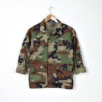 Vintage Military Woodland Jacket. Camouflage Unisex Boys Girls. Hunter Outerwear. Kids XL / Women XS - S