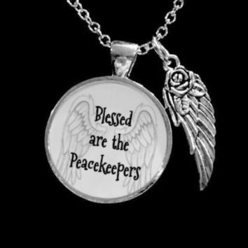 Blessed Are The Peacekeepers Police Officer LEO Angel Wing Gift Necklace