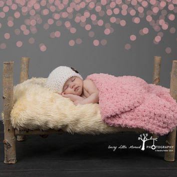 "Newborn Photography Prop Newborn Photo Prop Newborn Baby Girl Blanket Pink Baby Blanket Crochet Baby Blanket Knit Terry Cloth like 17"" x 17"""