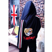 Gucci Fashion Casual Long Sleeve Hooded Embroider Tiger Multicolor Stripe 7 Minutes Of Pants Two Piece G-AGG-CZDL
