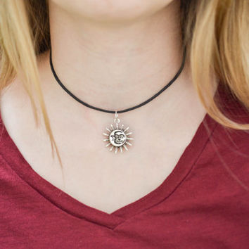 Sun And Moon Choker, 90s Choker, Celestial Choker, Gypsy Jewelry, Sun Choker Necklace