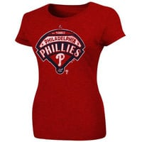 Majestic Philadelphia Phillies Ladies Mandate To Win Slim Fit Heathered T-Shirt - Red