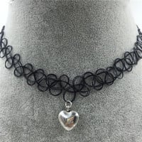 Tattoo Choker Necklace with Heart-shaped Pendant + Gift Box-31