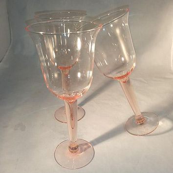 Peachy Pink Wine Glasses With Thick Stems  S/3