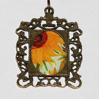 Sunflower Rectangle Pendant Necklace