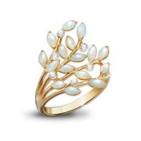 Opal Indulgence Diamond 24K Gold-Plated Ring by The Bradford Exchange