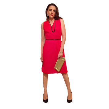 Vintage 50s Red Wool Wiggle Dress -- Sheath Style Fitted Cocktail Dress