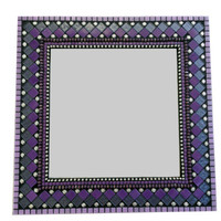 Purple Mosaic Mirror, Square Wall Art, Teen Girl Bedroom Decor, Mixed Media Mosaic Mirror