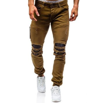 2017 Men'S Hi-street Biker Jeans Ripped Beggar Holes Skinny Jeans Elasticity Casual Male Cool Stretch Denim Joggers For Men