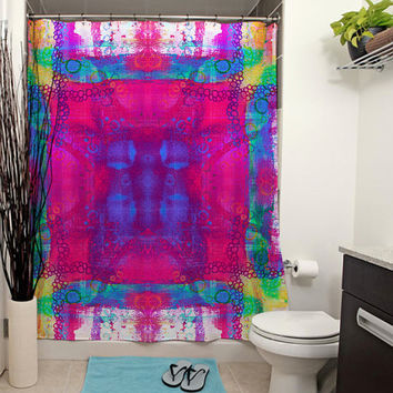 Carnival Daze Printed Shower Curtain, Pink Shower Curtain, Modern Art, Tie-Dye, Bathroom Decor, Tie-Dye Decor, Abstract Art, Pink Bath Decor