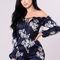 Sweet Craving Romper - Navy Floral