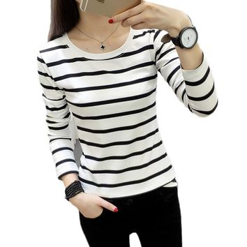 Women Autumn Winter Fashion Long Sleeve O neck Striped T Shirt for Lady Winter Casual T-shirt Tops Camiseta