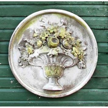 Flower Bouquet in Classical Urn Round Wall Hanging 26H - 7352