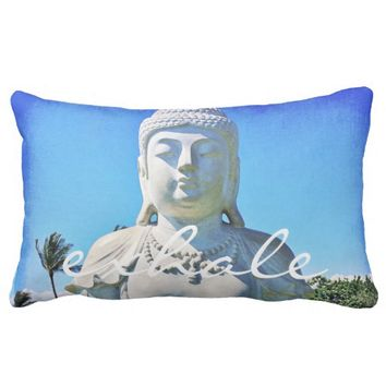 """Exhale"" white Buddha photo lumbar pillow"