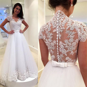2017 New Elegant Vestido De Noiva Long A-line Wedding Dresses Cheap Sexy White Tulle Appliques Short Sleeves Bridal Gown PW7