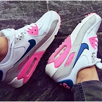 NIKE Air Max 90 Fashionable Women Casual Air Cushion Running Sneakers Sport Shoes(White&Blue&Pink)