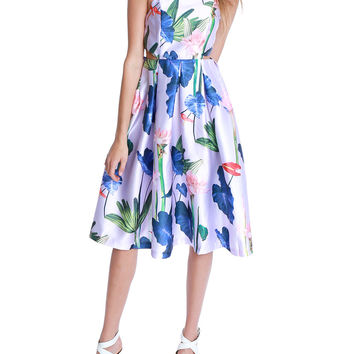 A Story Of Flowers Midi Dress - Violet Floral