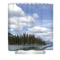 Maligne Lake Boat Shower Curtain for Sale by Ivy Ho