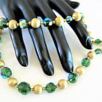 Napier Green Choker, Gold Tone Sparklers, Crystal AB Faceted Beads, Vintage Signed Choker