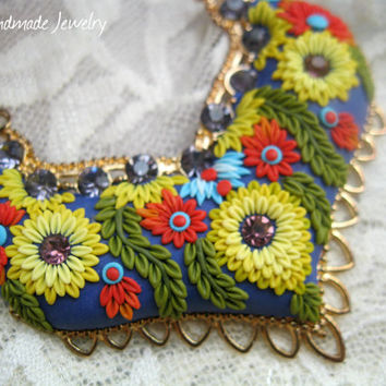 Call of the Wild Polymer clay Apllique Pendant by Lena Handmade Jewelry