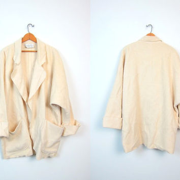 Minimal Draped Cream Wool Sweater Coat 80s Thick Heavy Modern Open Slouchy Cardigan Duster Minimalist Jacket Pockets Vintage Large Medium XL