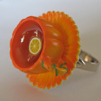 Pumpkin Teacup with Tea and Lemon Ring - Garden Collection