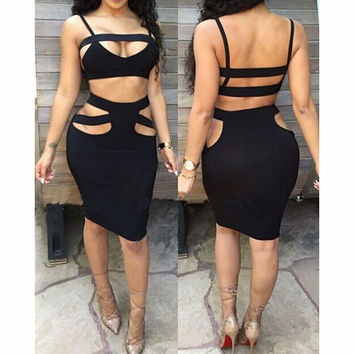 Hollow out tight two-piece dress